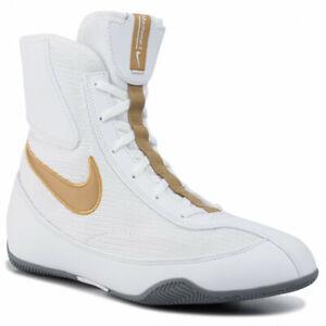 Nike machomai 2 Boxe Bottes cadencé Schuhe Chaussures de boxe ring blanc/or
