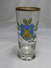 "Trinkglas Bierglas Kegler-Glas Emailmalerei Kegeln ""Gut Holz"" 1900-20"