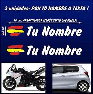 X2-PEGATINAS-PERSONALIZABLES-BANDERA-DE-ESPANA-CON-NOMBRE-MOTO-Y-COCHE-VINILO