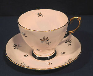 d31c92d3bc47a Details about Tuscan Fine Bone China Tea Cup and + Saucer Set Pink with Gold  Black Trim Retro!