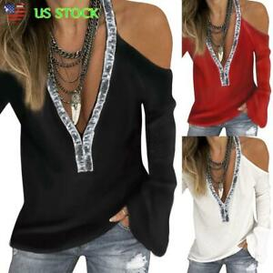 Womens-V-Neck-Cold-Shoulder-Flare-Sleeve-Tops-T-shirt-Ladies-Loose-Casual-Blouse