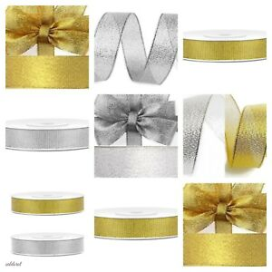 FAST-10-25-38mm-Woven-Edge-Sparkly-Lame-Ribbon-Silver-Gold-Glitter-UK-SELLER