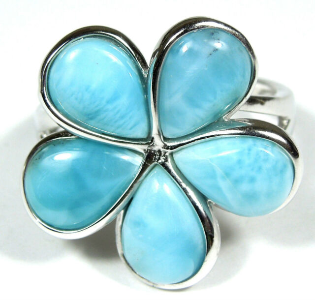 AAA Dominican Larimar Inlay 925 Sterling Silver Plumeria Flower Ring Sz 9