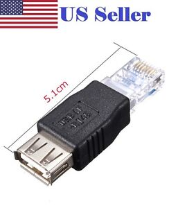 2X RJ45 Male to USB LAN Network Ethernet Router Plug A Female Adapter BBC