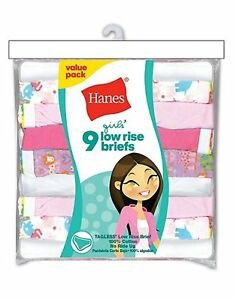 Hanes-Girls-039-No-Ride-Up-Cotton-Low-Rise-Briefs-Girls-Brief-Panties-9-Pack