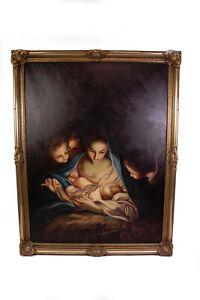 Gemaelde-Maria-mit-Jesuskind-gross-im-Barockrahmen-evtl-Oldruck-Gottes-Sohn