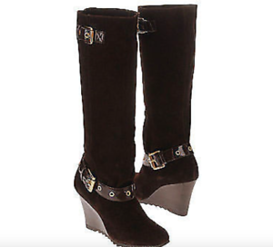 8d0a741048e New in Box Michael Kors Norma Slouch Wedge BOOTS Heels Shoes Suede ...