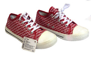 Ladies Womens Red Canvas Lace Up