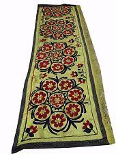 Vintage Hand Made Silk Embroidery Wall hanging Uzbek Suzani Upholstery 6x2 MU112