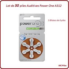 Lot de 30 piles boutons auditives A312 Power One, livraison rapide et gratuite