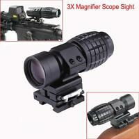Hunting 3x Magnifier Scope Sight Flip To Side 20mm Rail Mount Scopes