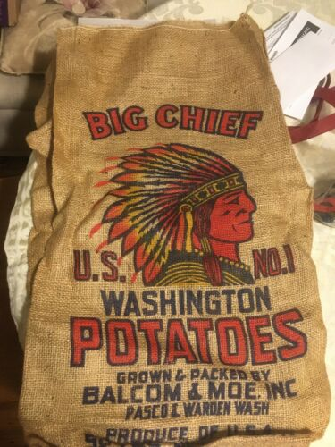Vintage New Big Chief 50 lb Potato Gunny Sack Balcom /& Moe Burlap Bag Indian Red