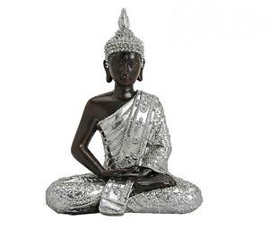 Buddha-Figur-Statue-Dekofigur-Feng-Shui-Garten-Budda-Skulptur-Schwarz-Silber