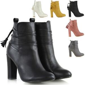 Mujer-Botas-al-tobillo-Damas-Tacon-Alto-Bloque-Con-Cordones-Cremallera-Botines-Zapatos-Talla-3-8