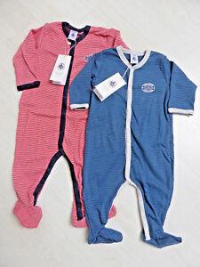 Strampler-Overall-Schlafanzug-rot-oder-marine-geringelt-von-Petit-Bateau-NEU