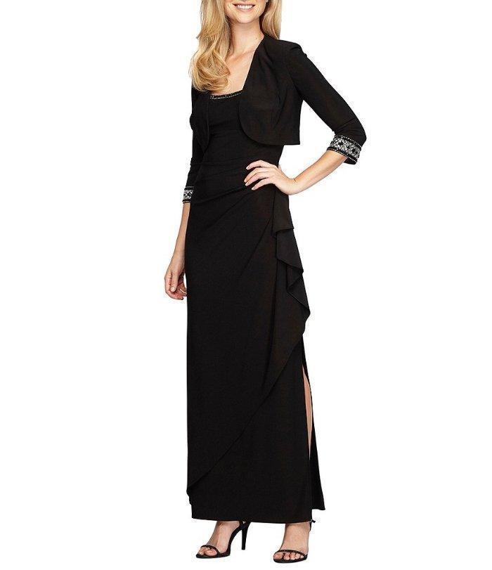 ALEX EVENINGS® 6 Black Beaded Trim Jacket Dress NWT