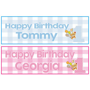 image is loading 2 personalised happy 1st birthday banners boy or