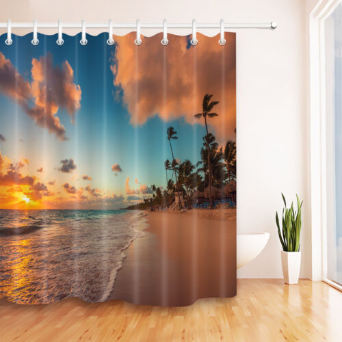 "Sunset Seaside Sunny Beach Palm Tree Shower Curtain Hooks Polyester Fabric 72/"""
