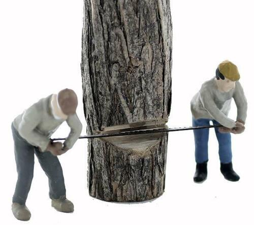 CROSSCUT Team N scale LOGGERS cutting tree LAYOUT READY 1//160 Scale