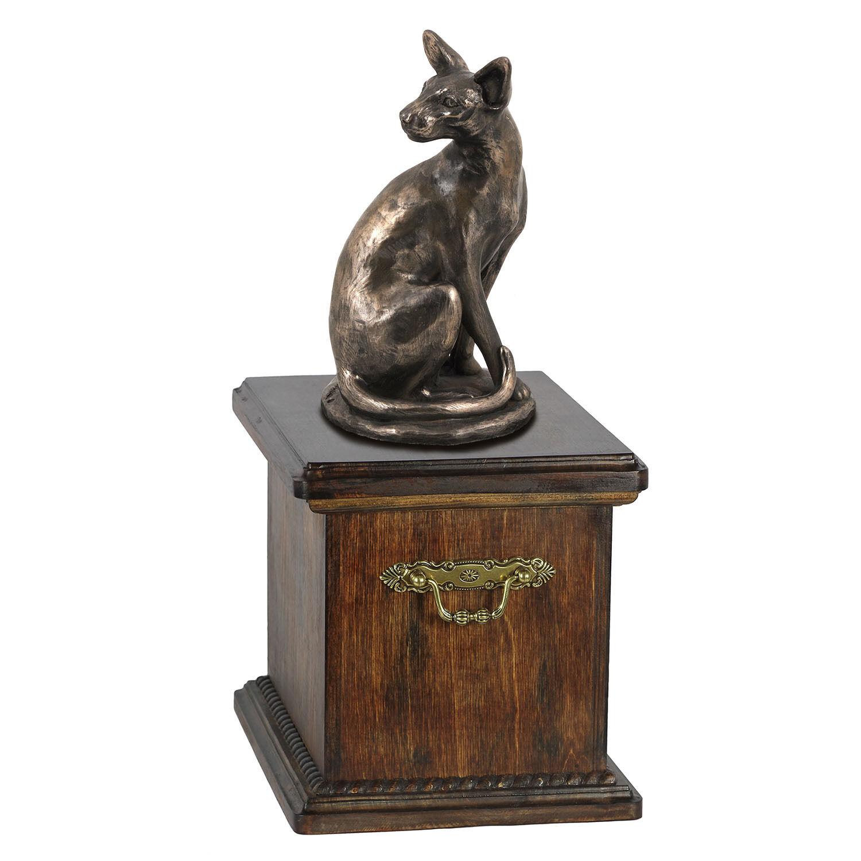 Holz Schatulle Ägyptisch Katze Gedenken Urne für Ashes mit Statue