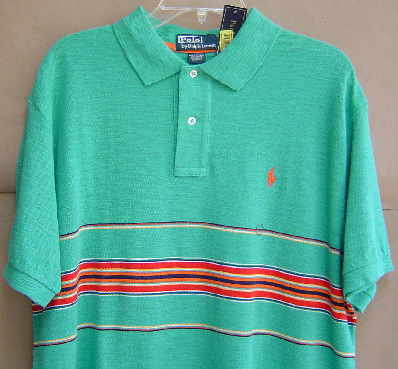 NWT  POLO RALPH LAUREN L Classic Fit STRIPED PIQUE SHIRT Bright Teal 0460248