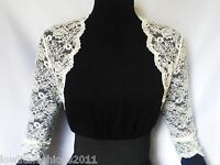 Ladies Ivory/white Lace Bridal 3/4 Sleeve Bolero/shrug/jacket Sizes 8 10 12 14