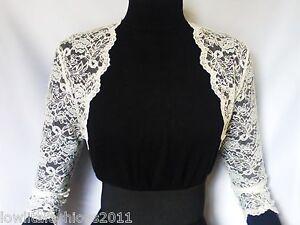 Ladies Ivory/White Lace Bridal 3/4 sleeve Bolero Jacket Sizes 8 10 12 14