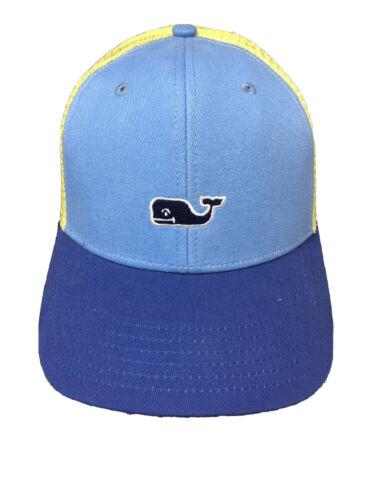 Vineyard Vines Classic Whale Dot Fishing Trucker Hat Cap Blue Yellow Snapback
