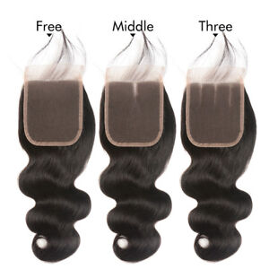 8A-4-4-Lace-Closure-Body-Wave-Human-Hair-Extensions-Brazilian-Hair-Wavy-8-22inch