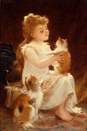 ZOPT366 portrait little girl /& two cats hand painted oil painting art canvas