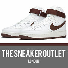 New Mens Nike Air Force 1 Hi Retro QS UK Size 8 Trainers // White Brown Jordan