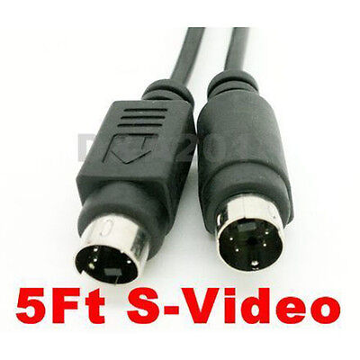 """5ft 1.5m S-Video S-VHS Cable 4 pin Male plug to Male HDTV audio video cord 5"""" MM"""