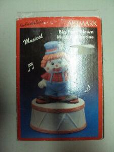 Vintage Hand Painted Porcelain Moveable Clown Music Box