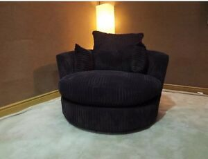 Image Is Loading Black Jumbo Cord Cuddle Swivel Chair Other Colour