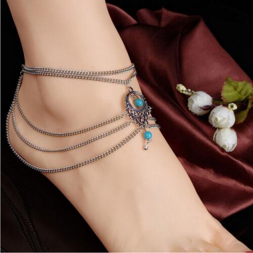 Boho Turquoise Barefoot Sandal Beach Anklet Foot Chain Jewelry Ankle Bracelet JK