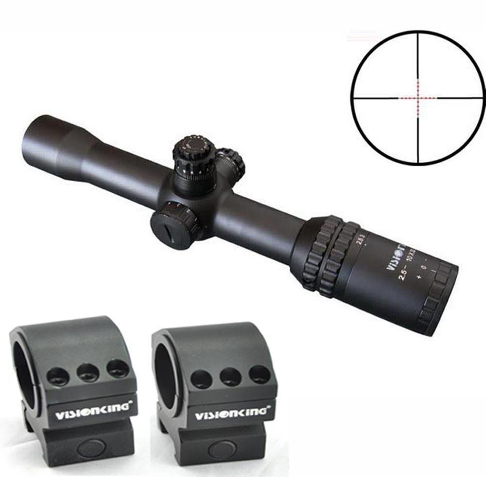 Visionking 2.5-10x32 caza + Tactical Mira Telescópica Mil Dot Anillos Montaje Picatinny