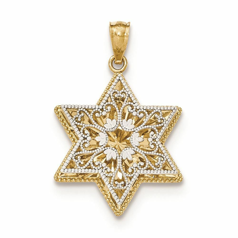 14K Two-Tone gold Reversible Filigree Star of David Charm Pendant MSRP  295