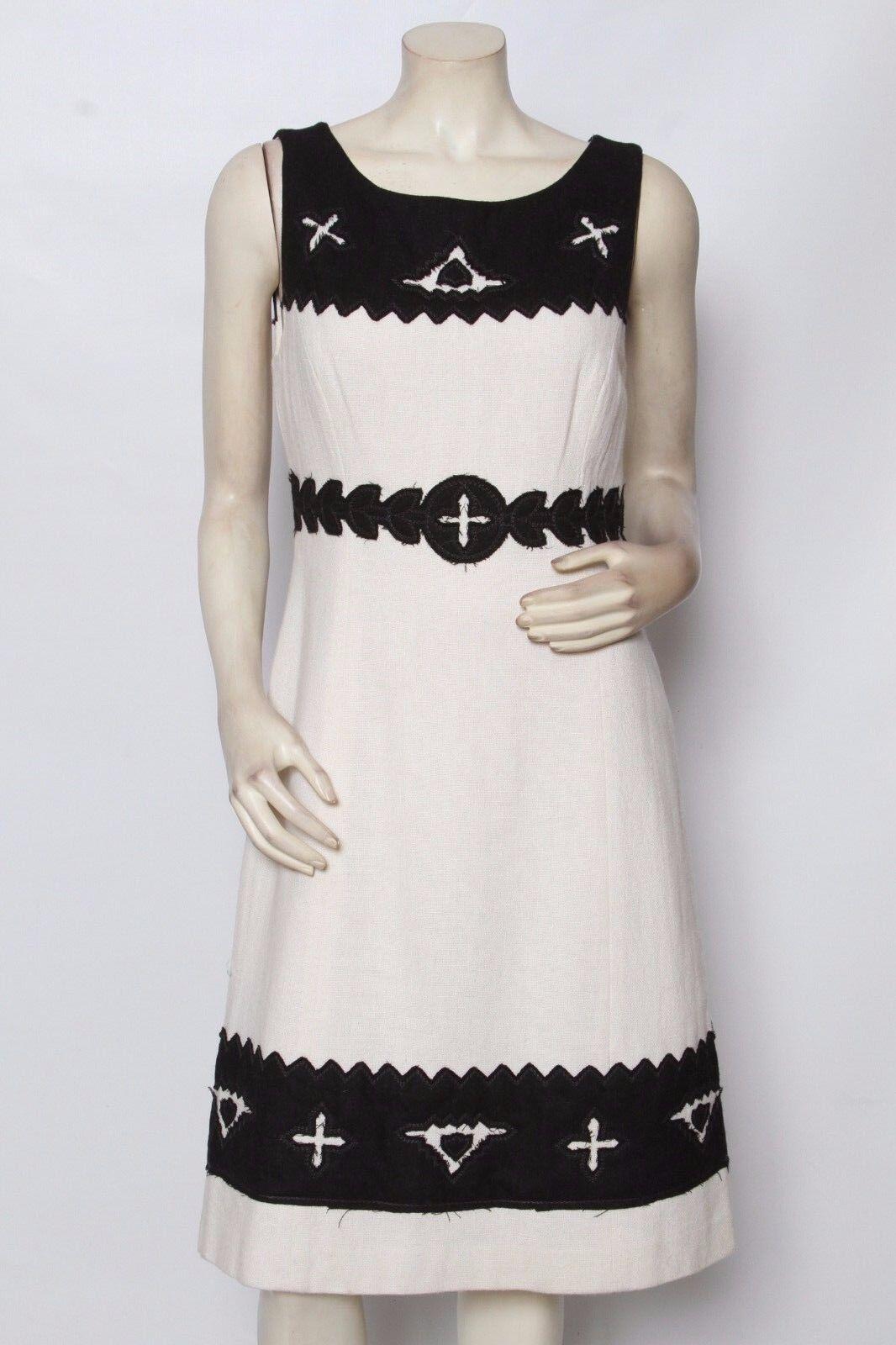 TORY BURCH Cream schwarz Wool Blend Applique Dress