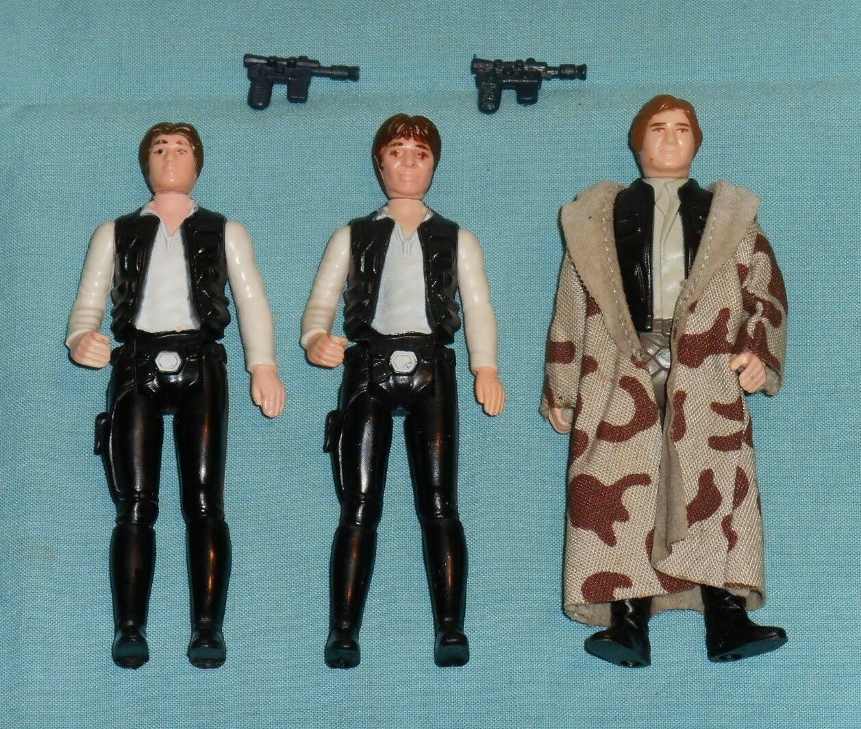 Vintage STAR WARS FIGURE LOT  192 Han Solo large + small head + Han Trenchcoat