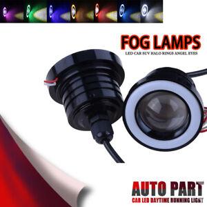 2X-3-5-pulgadas-89mm-Cob-LED-Angel-Eyes-Coche-DRL-Proyector-de-lente-de-luz-de-niebla-Halo