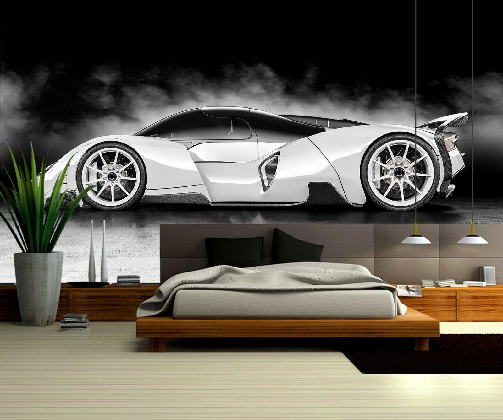 3D Weiß Sports Car B054 Car WandPapier Mural Sefl-adhesive Removable Wendy