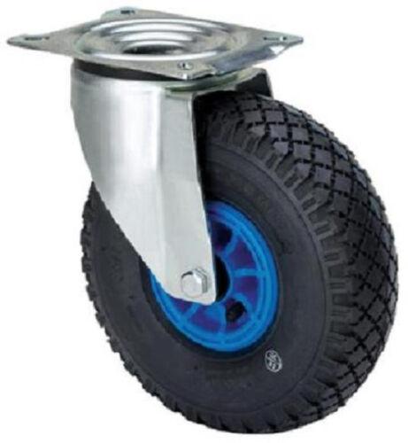 Transportrolle 260 mm Lenkrolle Rad luftbereift Rollenlager Platte Luftbereifung