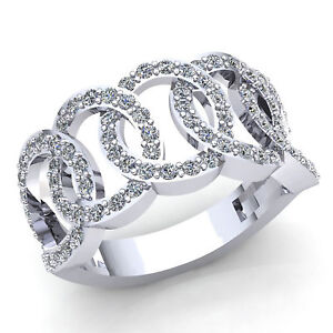 Genuine 1ct Round Diamond Ladies Fancy Interlinked Wedding Band Ring
