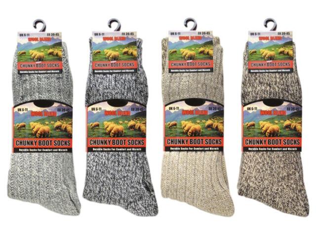 2 Pairs Mens Thick Wool Hiking Socks Winter Walking Boot Work Sock