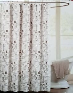 Image Is Loading EIFFEL TOWER PARIS Theme FABRIC SHOWER CURTAIN White