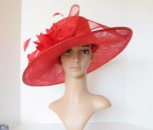 bb62d8b5ddd Kentucky Derby Church Wedding 3 Layers Big Bow Sinamay Wide Brim hat ...