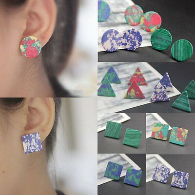 Chic Women Boho Turquoise Geometric Triangle Square Round Ear Stud Earrings Gift