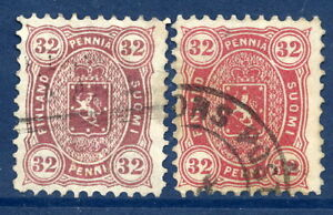FINLAND-1875-32p-two-shades-perforated-11-used