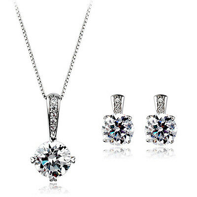 18K WHITE GOLD PLATED /& GENUINE CZ AND AUSTRIAN CRYSTAL NECKLACE /& EARRING SET