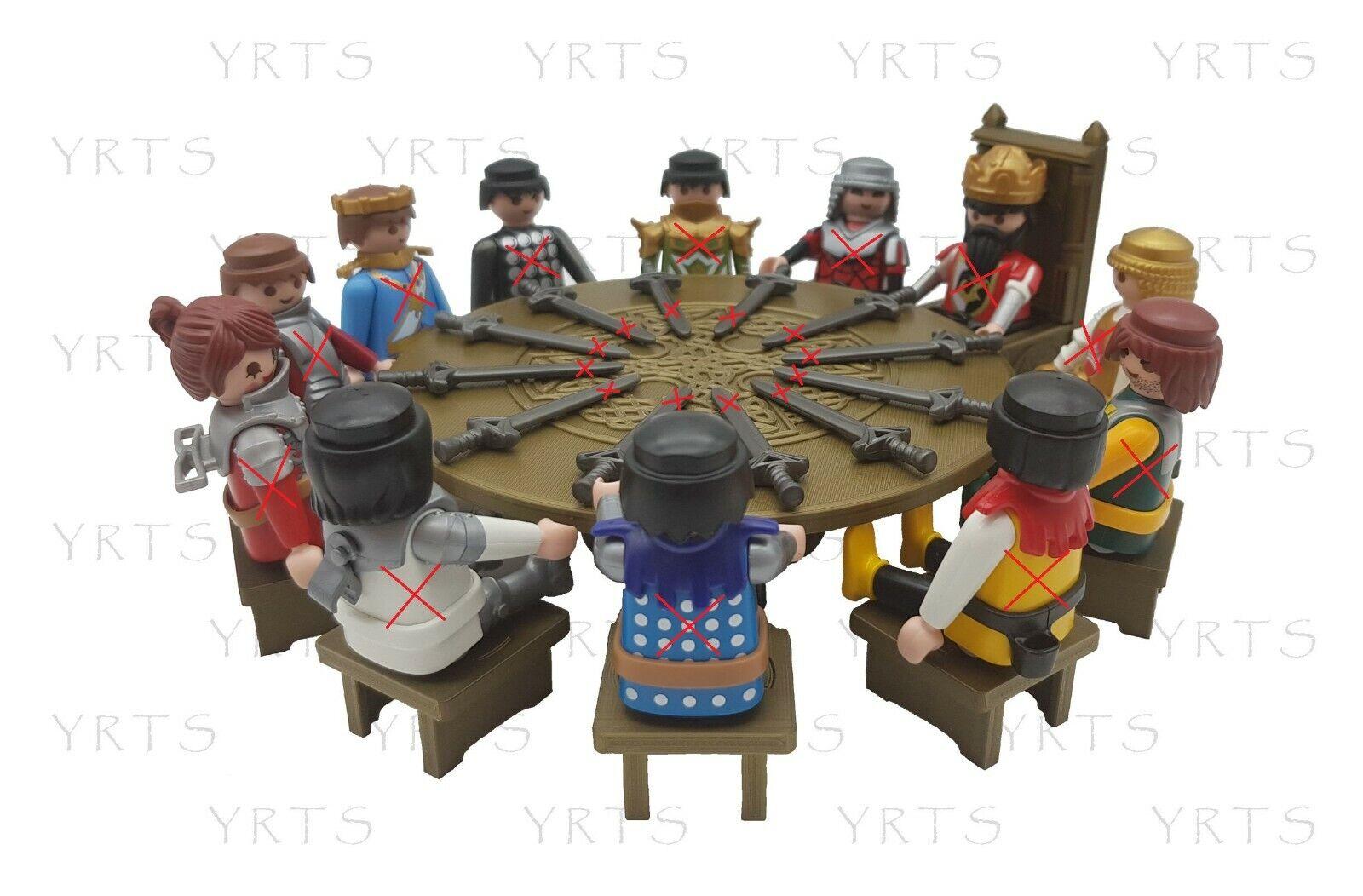 YRTS Custom Mesa Redonda, Trono y 11 Sillas Rey Arturo Medieval Escala...